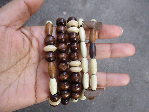 Unisex Brown and Bone Beaded Bracelets