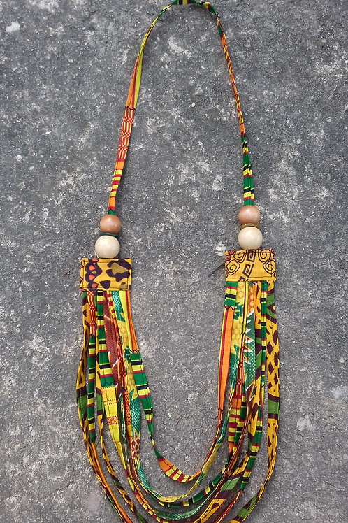Safari Wildlife Africanprint Beaded Fabric Necklace