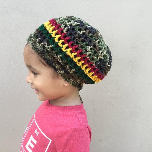 Camo Round Nett Crochet Tam for Youth age 5-11