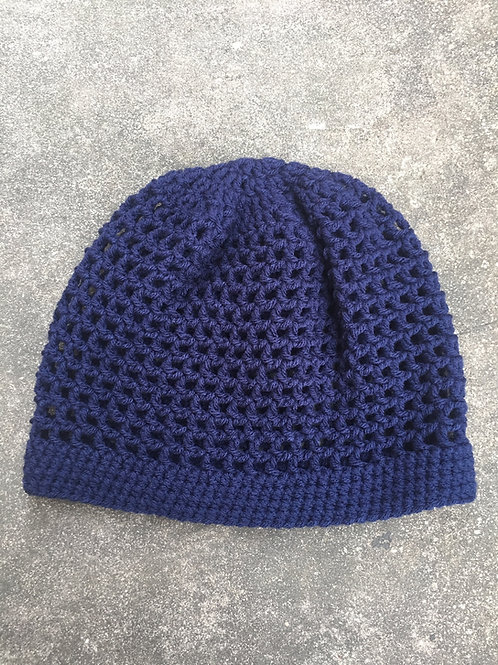 Navy Heather S Crochet Tam