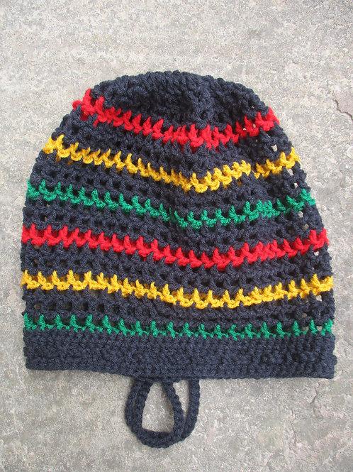 Ash L Rasta stripe Crochet Tam
