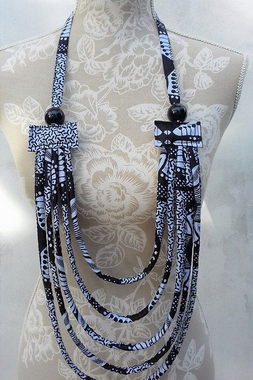 Safari Moon Fabric Rope Necklace