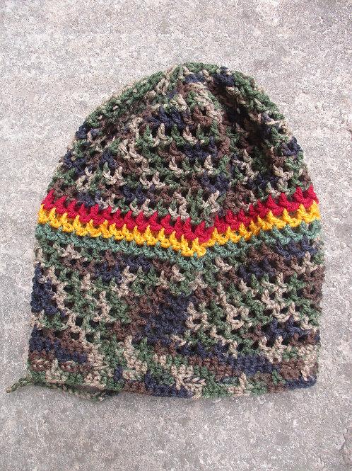 CAMO L IRas Dread Nett Rasta stripe Crochet Tam