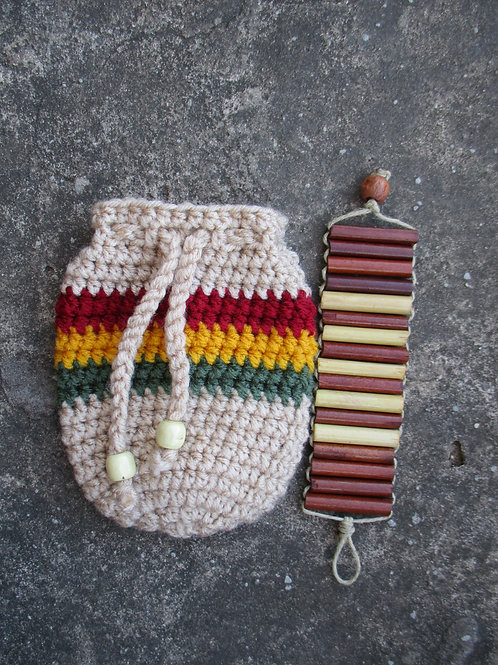 Red Gold Green Striped Crochet Pouch