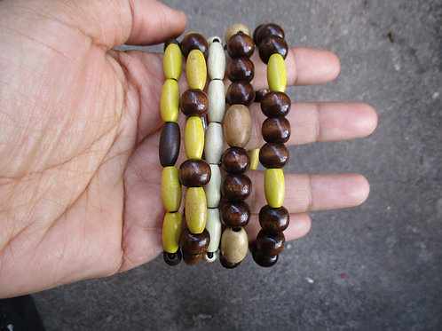 Brown and Yellow Beaded Bracelets