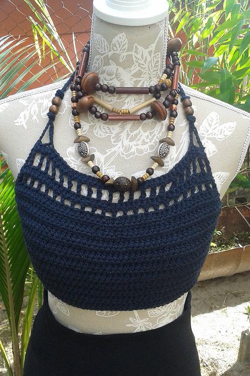Navy Cotton Crochet Halter Top