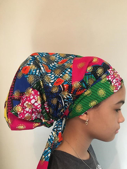 Multicolor and Gold print Bonnet