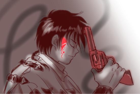 赤錆びた銃と右頬の赤いイレズミ