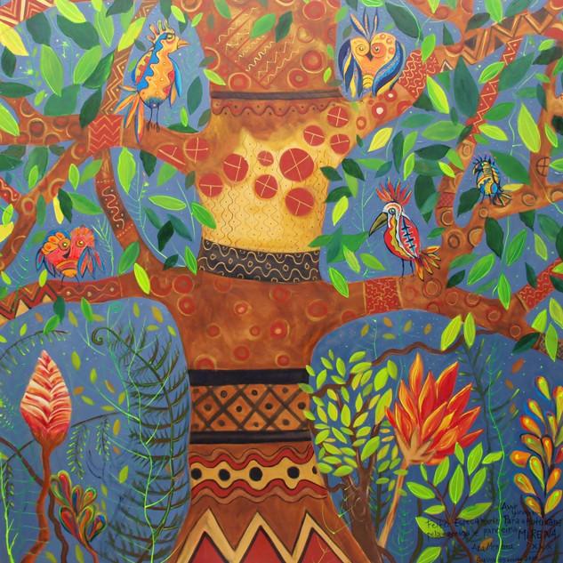 Hutukara- o Mundo Sagrado Yanomami.- acrilico sobre Madeira- 1m50cm x1m50cm.JPG
