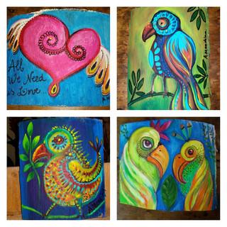 pintura sobre madeira - Love Birds