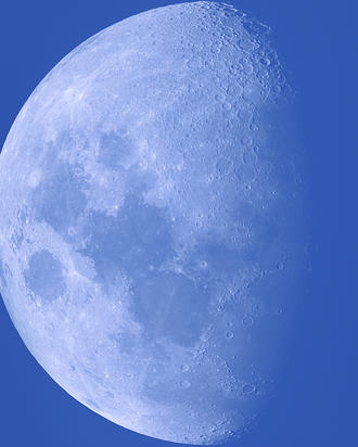 72% Daylight Waxing Gibbous Moon