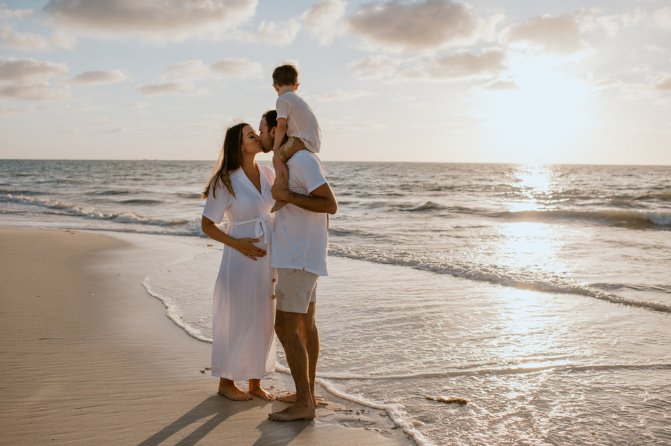Sunset maternity photography session Perth beach