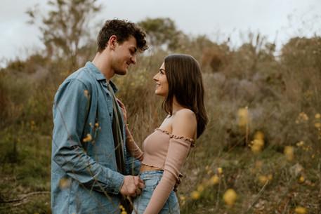 Couple in love in natural bushland location Perth