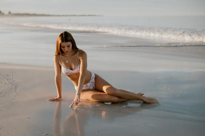 Perth model posing in surf swimwear label