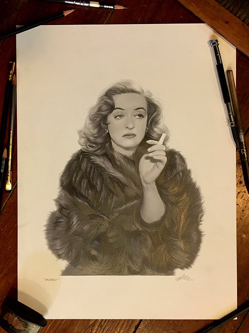 """Criterion's ALL ABOUT EVE original drawing """"MARGO"""" + blu ray"""