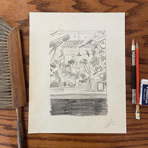 Original first Gunpowder Milkshake sketch 1