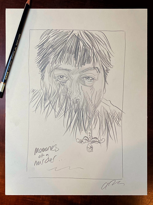 MEMORIES OF MURDER Neon poster graphite sketch 4