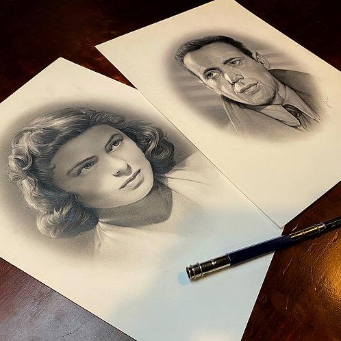 "HIM & HER 4: ""Rick. & Ilsa"" from CASABLANCA  original graphite"
