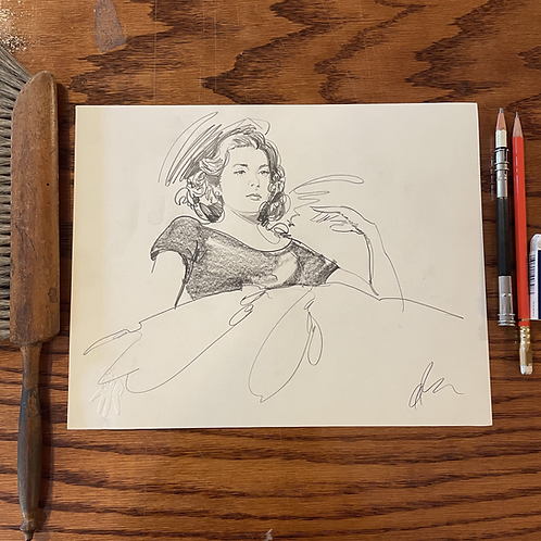 Original Grace Kelly pencil sketch for REAR WINDOW