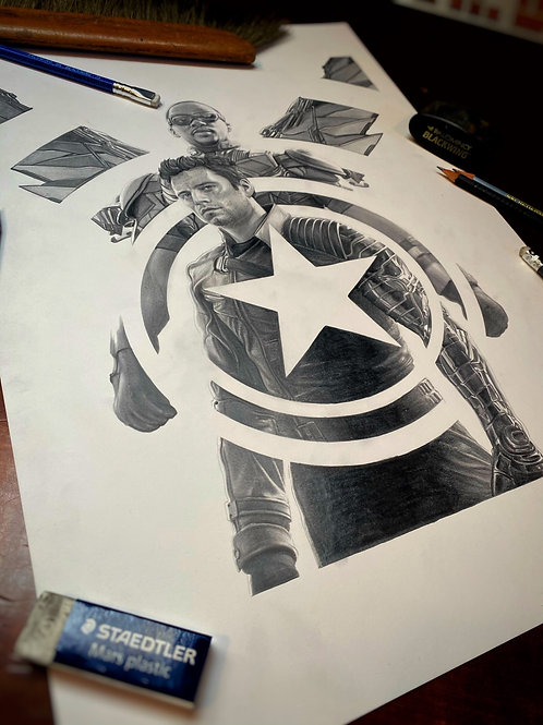 """EMPIRE Magazine cover original drawing """"FALCON & WINTER SOLDIER"""""""