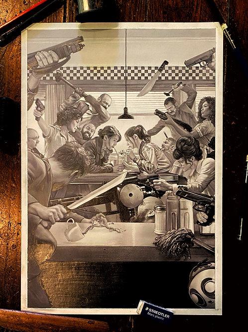 GUNPOWDER MILKSHAKE original drawing for Netflix/Mondo