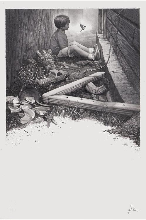 Original final drawing for the Mondo/IFC BOYHOOD poster