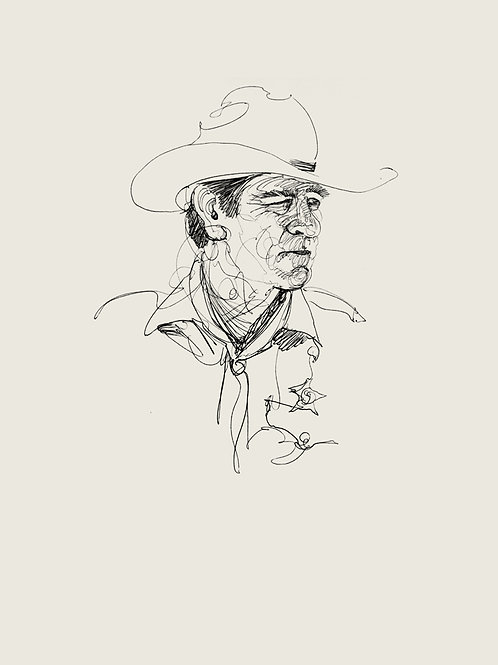 """NO COUNTRY FOR OLD MEN commission study #4: """"Sheriff Ed""""  recursive sketch"""