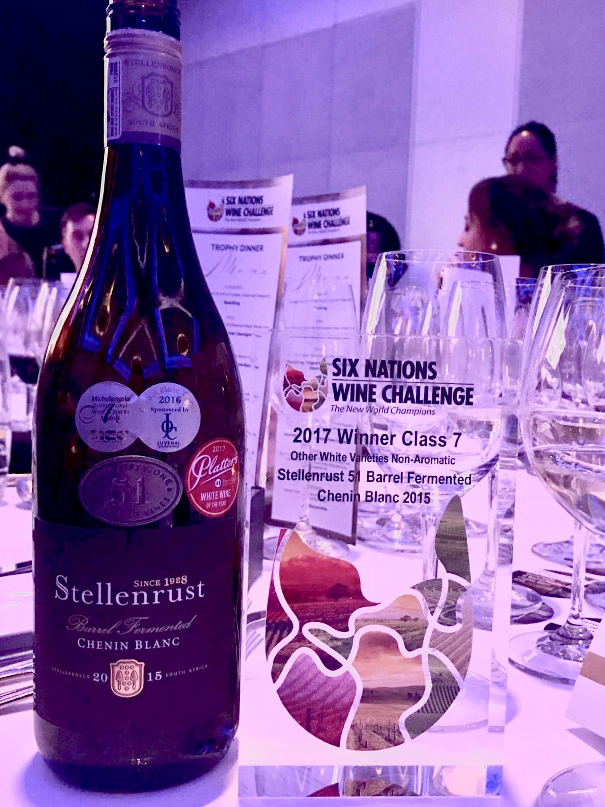 Stellenbosch's Stellenrust Vineyard picks up a trophy for their Chenin Blanc at the Six Nations Wine