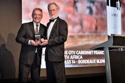 Michael Nash of Luxury Wine Trails receiving the trophy on behalf of Uva Mira - from Australian Wine
