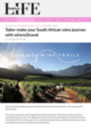 Luxury Wine Trails - Featured in Life Begins at Magazine