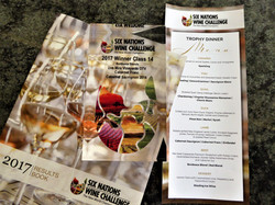 Dinner Menu, Trophy Book & Uva Mira Trophy for best Bordeux blend at the 6 Nations Wine Challenge di