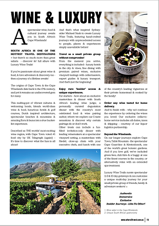 Luxury Wine Trails featuring in Where 2 Travel Magazine