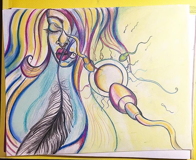 #art #color #rebirth #goddess #fertility #woman #eaglefeather #visionaryart #pencil #prismacolor #pa
