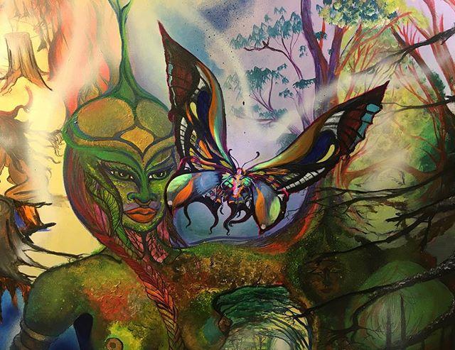 #artbymarinafontana #visionaryart #blacklightart #motherearth #gaia #art #butterflies