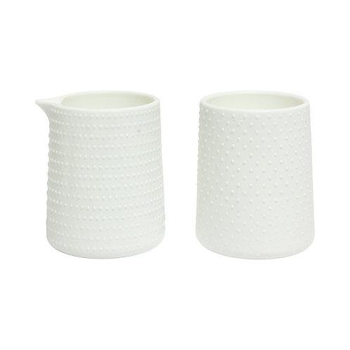 White Hobnail Sugar + Creamer Set