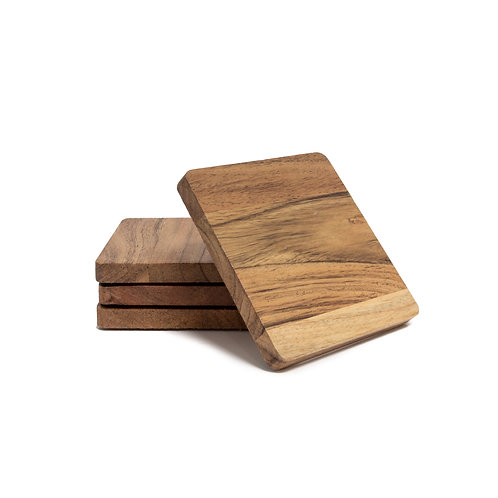 Wooden Square Coasters - Set of 4