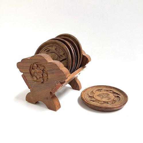 Carved Wood Coaster Set
