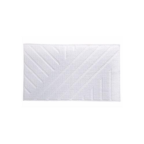 White Geometric Bath Mat