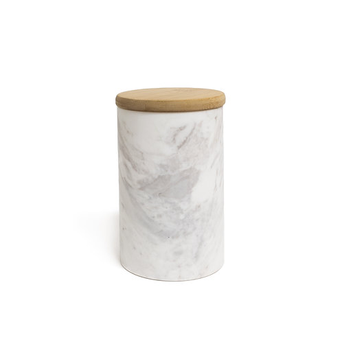 Small Wood+Marble Canisters - Set of 2