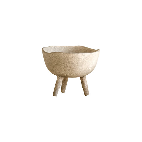 Large Taupe Footed Bowl or Planter