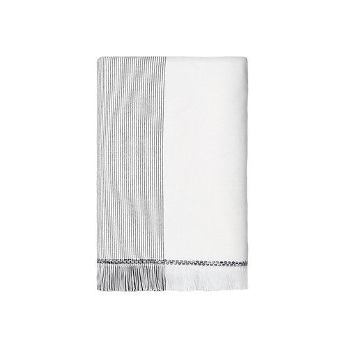 Set of 2 - Striped Gray Fringed Bath Towels
