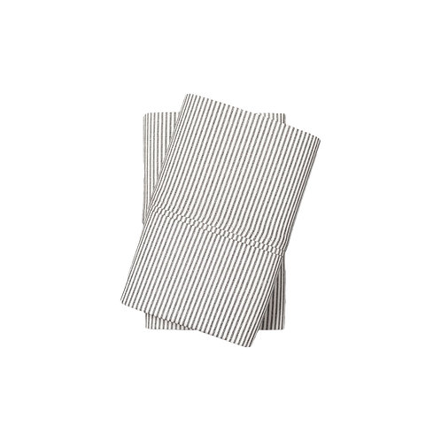 Standard Gray Striped Pillowcases - Set of 2