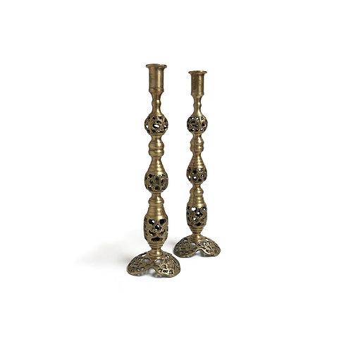 Tall Brass Candlesticks - Set of 2