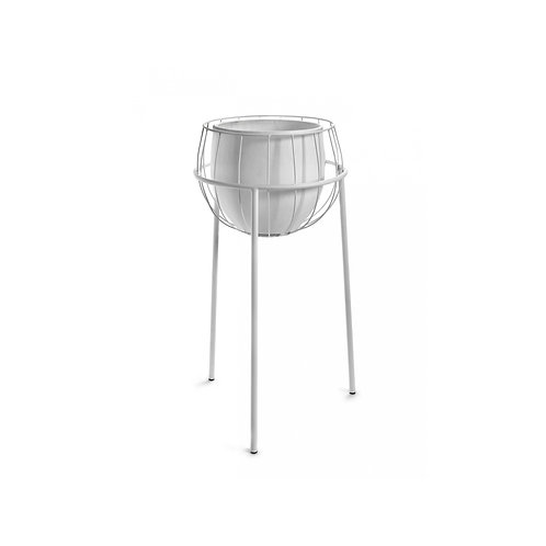 Modern White Caged Plant Stand