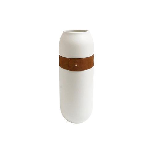 Large White + Faux Leather Vase #1