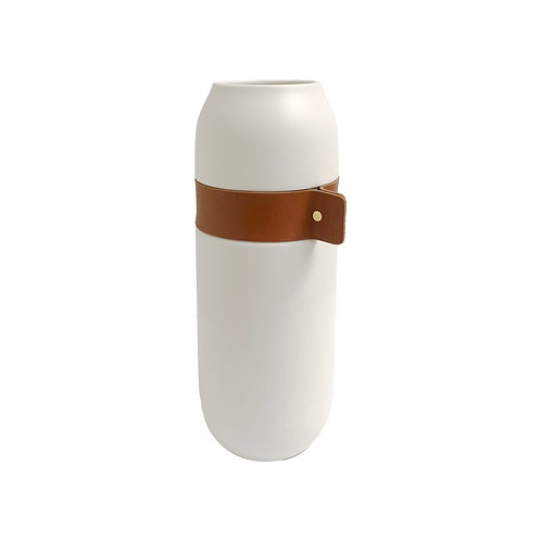 Large White + Faux Leather Vase #2