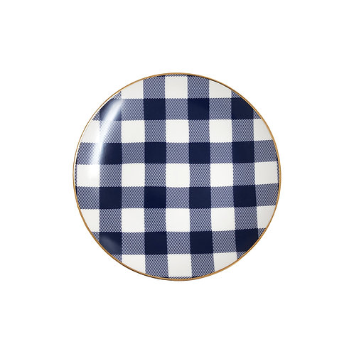 Navy Gingham Plates - Set of 7