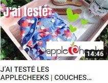 image montrant une photo d'une couche Applecheeks faisant le lien vers une vidéo du site Ecomaman testant la marque de couches lavables