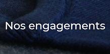 photo d'un pull bleu avec le message nos engagements renvoyant vers le site internet de la marque Loom