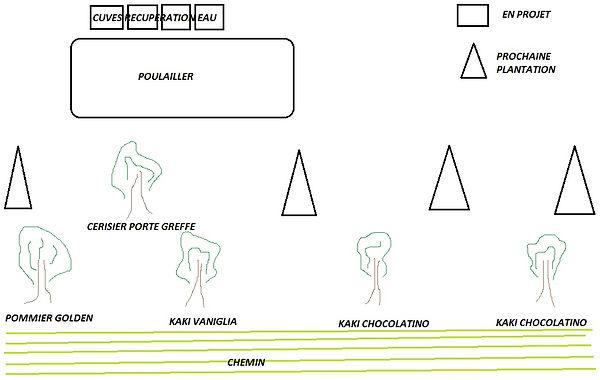 schéma du futur emplacement du poulailler et du petit verger compris dans le parcours